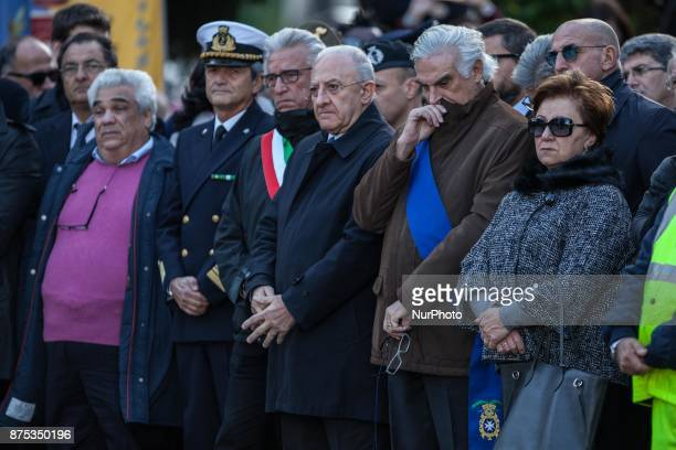 Vincenzo De Luca during the funeral service for 26 Nigerian women at the Salerno cemetery southern Italy Friday Nov17 2017 The women died last week...