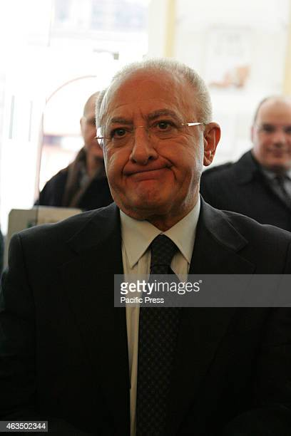 Vincenzo De Luca Mayor of Salerno presidential candidate of the Region of Campania in Naples at the Cinema Theatre Filangieri launched its project...