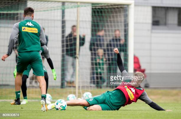 Vincenzo Grifo and Marvin Schulz during a training session of Borussia Moenchengladbach at BorussiaPark on July 02 2017 in Moenchengladbach Germany