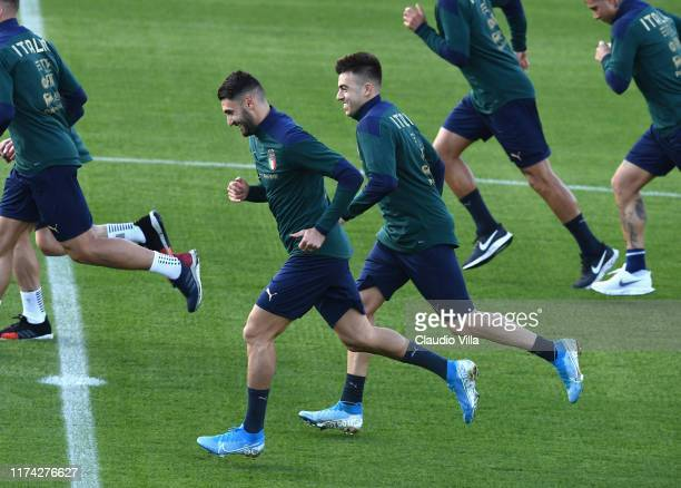 Vincenzo Grifo and Stephan El Shaarawy of Italy in action during a Italy training session at Centro Tecnico Federale di Coverciano on June 7, 2019 in...