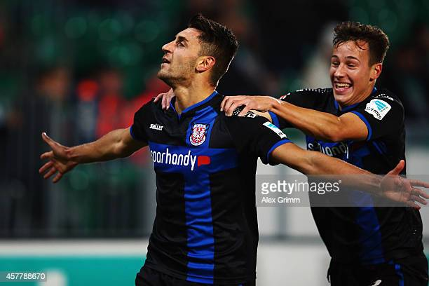 Vincenzo Grifo of Frankfurt celebrates his team's third goal with team mate Mario Engels during the Second Bundesliga match between Greuther Fuerth...
