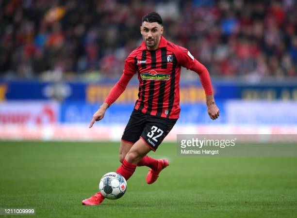 Vincenzo Grifo of Freiburg controls the ball during the Bundesliga match between Sport-Club Freiburg and 1. FC Union Berlin at Schwarzwald-Stadion on...