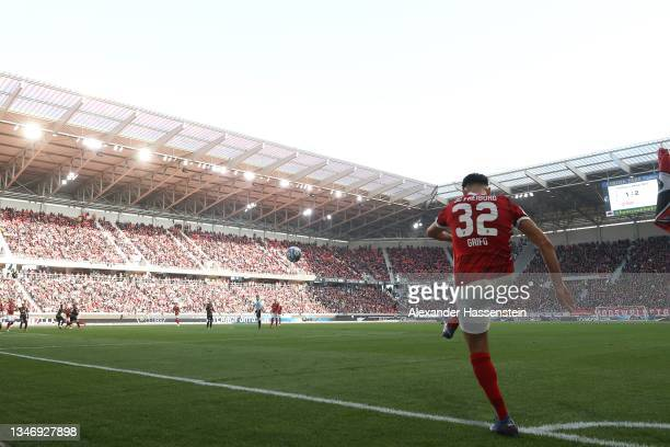 Vincenzo Grifo of Freiburg kicks a corner during the Bundesliga match between Sport-Club Freiburg and RB Leipzig at Europa Park Stadion Stadion on...