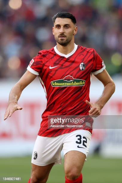 Vincenzo Grifo of Freiburg looks on during the Bundesliga match between Sport-Club Freiburg and RB Leipzig at SC-Stadion on October 16, 2021 in...