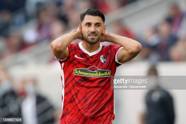 Vincenzo Grifo of Freiburg reacts during the Bundesliga match between Sport-Club Freiburg and RB Leipzig at SC-Stadion on October 16, 2021 in...