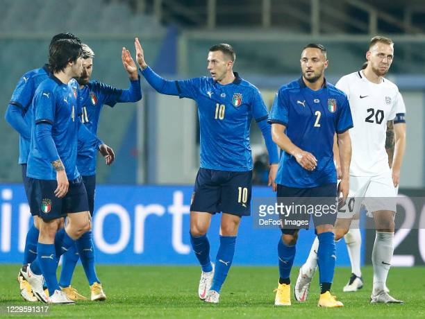Vincenzo Grifo of Italy and Federico Bernardeaschi of Italy celebrate after scoring his team's first goal during the International Friendly match...