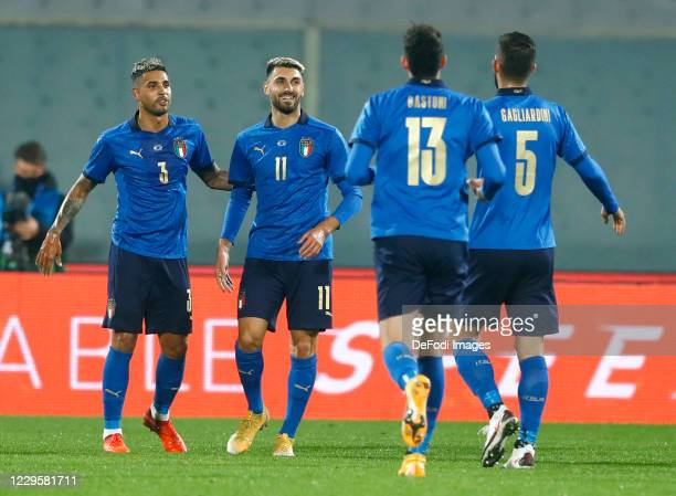 Vincenzo Grifo of Italy celebrates after scoring his team's first goal with team mates during the International Friendly match between Italy and...