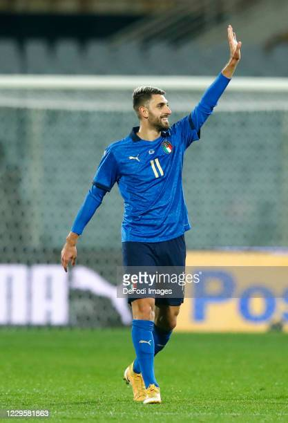 Vincenzo Grifo of Italy celebrates after scoring his team's first goal during the International Friendly match between Italy and Estonia at Stadio...