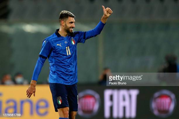 Vincenzo Grifo of Italy celebrates after scoring the opening goal during the international friendly match between Italy and Estonia at Stadio Artemio...