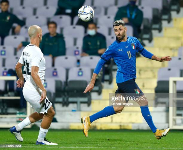 Vincenzo Grifo of Italy controls the ball during the International Friendly match between Italy and Estonia at Stadio Artemio Franchi on November 11...