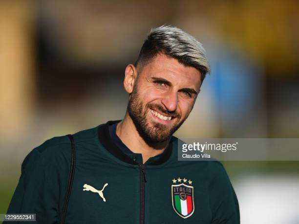 Vincenzo Grifo of Italy looks on during a training session at Centro Tecnico Federale di Coverciano on November 9, 2020 in Florence, Italy.