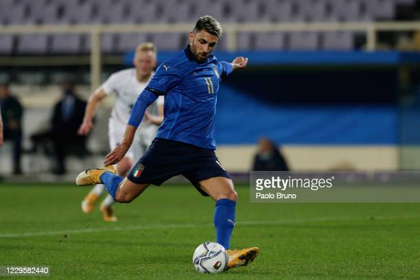 Vincenzo Grifo of Italy scores the team's third goal from penalty spot during the international friendly match between Italy and Estonia at Stadio...