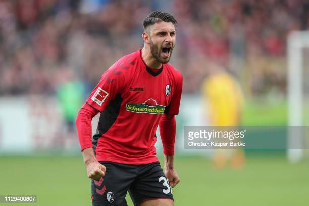 Vincenzo Grifo of SC Freiburg celebrates during the Bundesliga match between Sport-Club Freiburg and Hertha BSC at Schwarzwald-Stadion on March 9,...