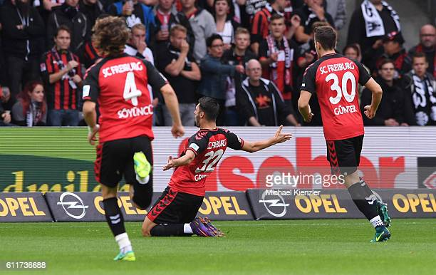 Vincenzo Grifo of SC Freiburg celebrates his opening goal during the Bundesliga match between Sport Club Freiburg and Eintracht Frankfurt at...