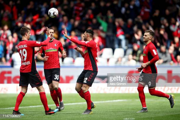 Vincenzo Grifo of Sport-Club Freiburg celebrates scoring the opening goal during the Bundesliga match between Sport-Club Freiburg and Fortuna...