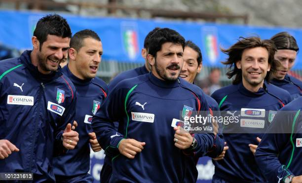 Vincenzo Iaquinta Angelo Palombo Gennaro Gattuso Mauro German Camoranesi and Andrea Pirlo of Italy during a training session on May 28 2010 in...