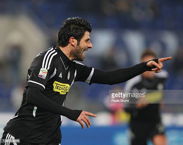 Vincenzo Iaquinta of AC Cesena celebrates after scoring the penalty during the Serie A match between SS Lazio and AC Cesena at Stadio Olimpico on...