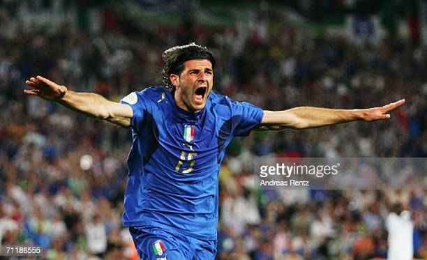 Vincenzo Iaquinta of Italy celebrates scoring his team's second goal during the FIFA World Cup Germany 2006 Group E match between Italy and Ghana...