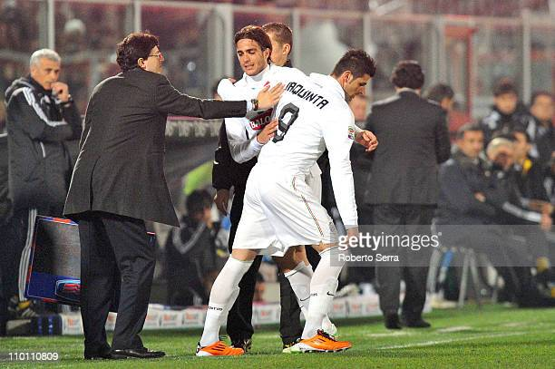 Vincenzo Iaquinta of Juventus comes on as substitute for Alessandro Matri of Juventus during the Serie A match between AC Cesena and Juventus FC at...