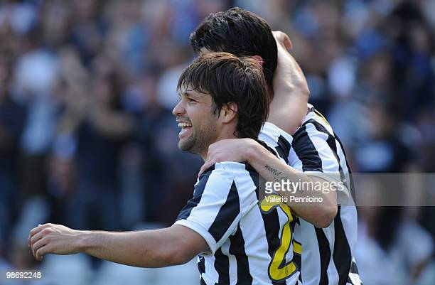 Vincenzo Iaquinta of Juventus FC celebrates his goal with Ribas Da Cunha Diego during the Serie A match between Juventus FC and AS Bari at Stadio...