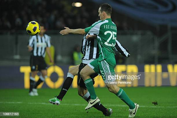 Vincenzo Iaquinta of Juventus FC scores a goal during the Serie A match between Juventus FC and AC Cesena at Olimpico Stadium on November 7 2010 in...