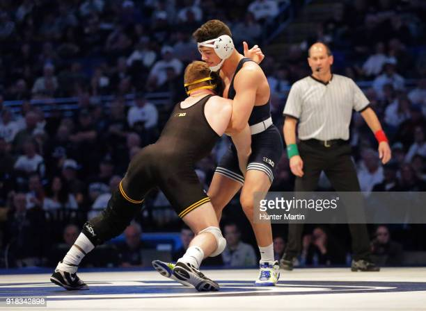 Vincenzo Joseph of the Penn State Nittany Lions wrestles Alex Marinelli of the Iowa Hawkeyes on February 10 2018 at the Bryce Jordan Center on the...