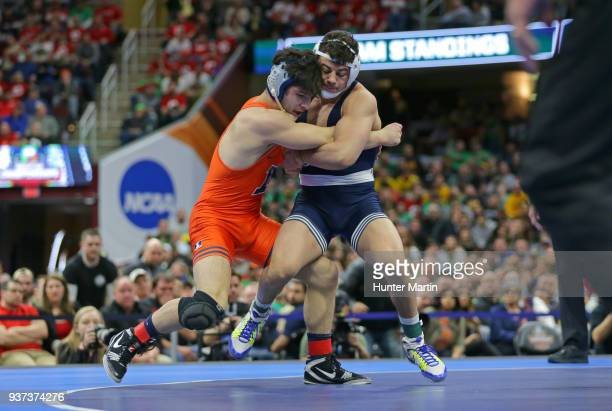 Vincenzo Joseph of the Penn State Nittany Lions wrestles Isaiah Martinez of the Illinois Fighting Illini during the 165 pound championship match...