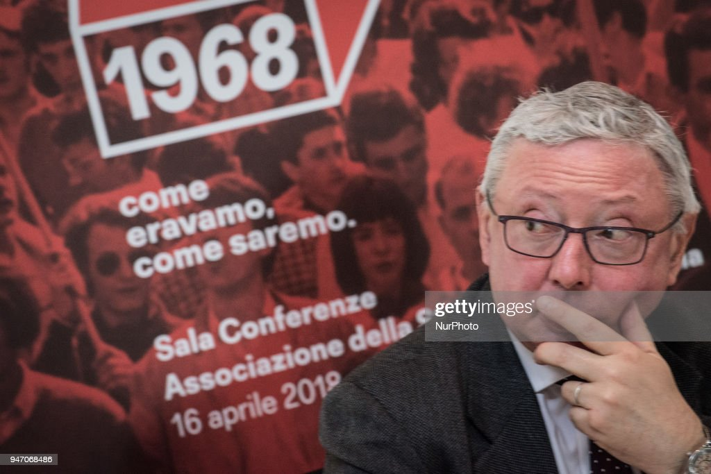 """Vincenzo Maria Vita during Press conference to the foreign press, On the occasion of the 50th anniversary of 1968, Agi Agenzia Italia has reconstructed the historical archive of that year, recovering the heritage of all the historical Italian and international agencies, organizing a photographic and multimedia exhibition that will be set up at the Museum of Rome in Trastevere from May 5 to September 2, 2018. It's called """"Dreamers. 1968: as we were, as we will be. on April 16, 2018 in Rome, Italy"""