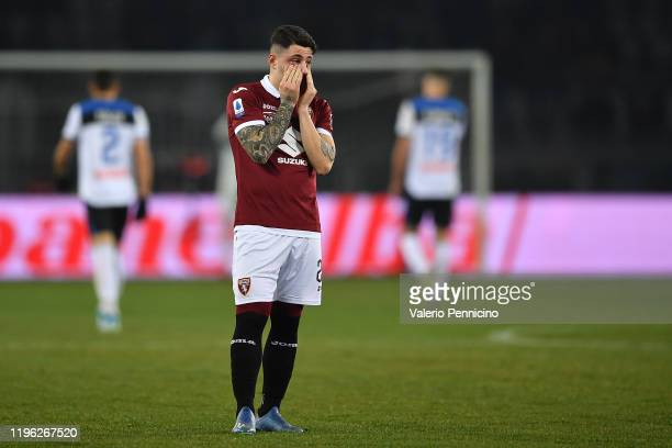Vincenzo Millico of Torino FC looks dejected during the Serie A match between Torino FC and Atalanta BC at Stadio Olimpico di Torino on January 25...