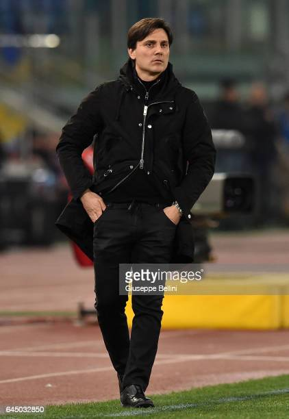 Vincenzo Montella head coach of AC Milan during the Serie A match between SS Lazio and AC Milan at Stadio Olimpico on February 13 2017 in Rome Italy