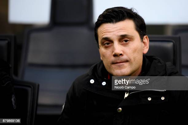 Vincenzo Montella head coach of AC Milan looks on prior to the Serie A football match between AC Milan and Torino FC The match ended in a 00 tie