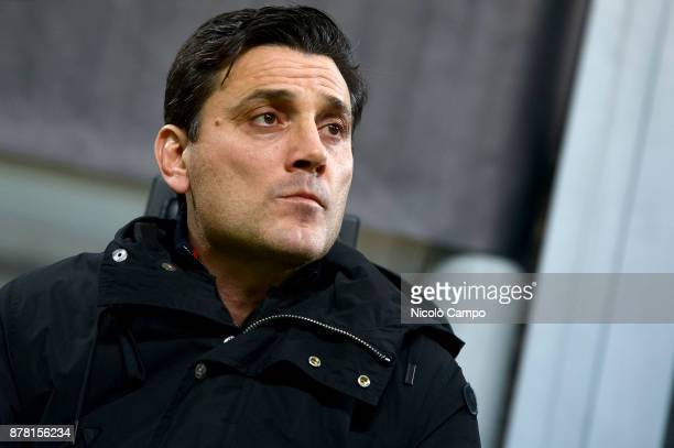 Vincenzo Montella head coach of AC Milan looks on prior to the UEFA Europa League football match between AC Milan and FK Austria Wien AC Milan wins...