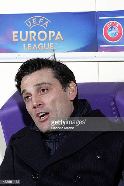 Vincenzo Montella head coach of ACF Fiorentina looks during the UEFA Europa League Group E match between ACF Fiorentina and FC Dnipro Dnipropetrovsk...