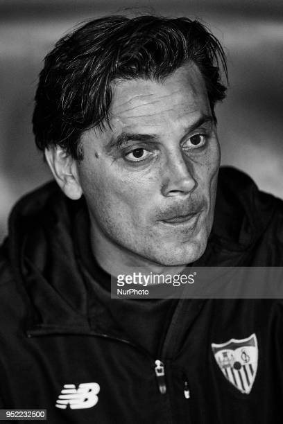 the image has been converted to black and white Vincenzo Montella head coach of Sevilla FC looks on prior to the La Liga game between Levante UD and...