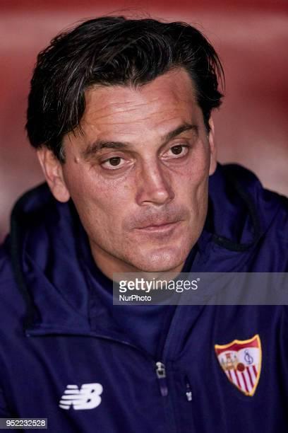 Vincenzo Montella head coach of Sevilla FC looks on prior to the La Liga game between Levante UD and Sevilla FC at Ciutat de Valencia on April 27...