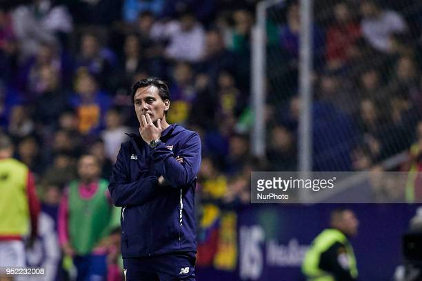 Vincenzo Montella head coach of Sevilla FC reacts during the La Liga game between Levante UD and Sevilla FC at Ciutat de Valencia on April 27 2018 in...