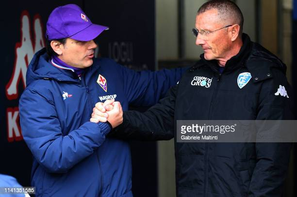 Vincenzo Montella manager of ACF Fiorentina and Aurelio Andreazzoli manager of Empoli FC during the Serie A match between Empoli and ACF Fiorentina...