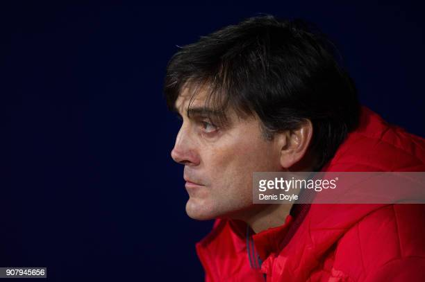 Vincenzo Montella manager of Sevilla looks on before the Copa del Rey Quarter Final First Leg match between Atletico de Madrid and Sevilla at Estadio...