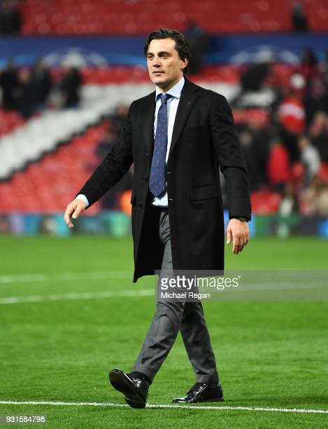 Vincenzo Montella manager of Sevilla looks on in victory after the UEFA Champions League Round of 16 Second Leg match between Manchester United and...