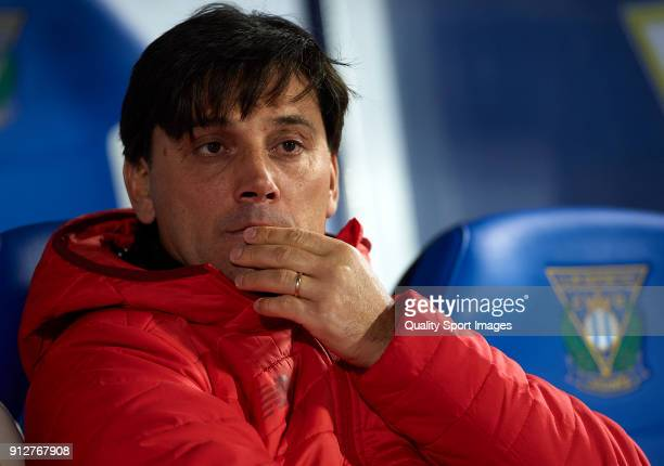 Vincenzo Montella Manager of Sevilla looks on prior to the Copa del Rey semifinal first leg match between CD Leganes and Sevilla FC at Estadio...