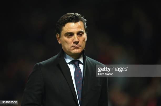 Vincenzo Montella manager of Sevilla looks on prior to the UEFA Champions League Round of 16 Second Leg match between Manchester United and Sevilla...