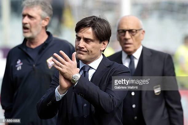 Vincenzo Montella manager of UC Sampdoria reatcs during the Serie A match between ACF Fiorentina and UC Sampdoria at Artemio Franchi on April 3 2016...