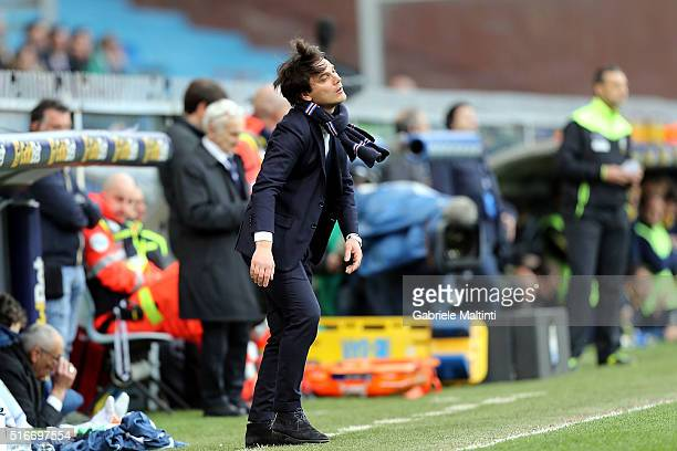 Vincenzo Montella manager of UC Sampdoria shows his dejection during the Serie A match between UC Sampdoria and AC Chievo Verona at Stadio Luigi...