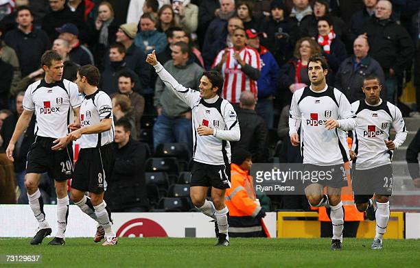 Vincenzo Montella of Fulham celebrates after scoring the opening goal during the FA Cup sponsored by EON 4th round match between Fulham and Stoke...