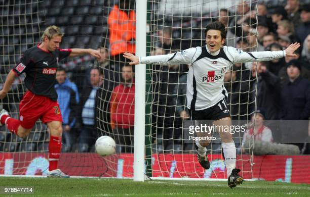 Vincenzo Montella of Fulham celebrates after scoring the opening goal during the FA Cup 4th round match between Fulham and Stoke City at Craven...