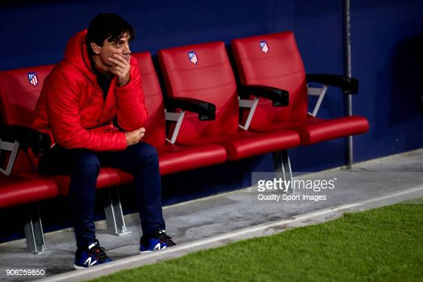 Vincenzo Montella the manager of Sevilla FC looks on prior to the Copa del Rey Round of 8 first Leg match between Atletico de Madrid and Sevilla FC...