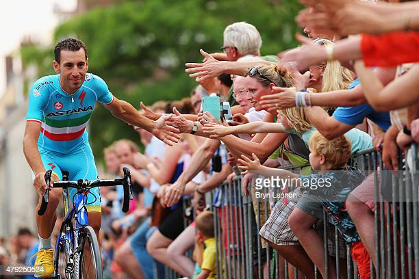 Vincenzo Niabli of Italy and the Astana Pro Team greets fans at the 2015 Tour de France Team Presentation, on July 2, 2015 in Utrecht. The 102nd Tour...