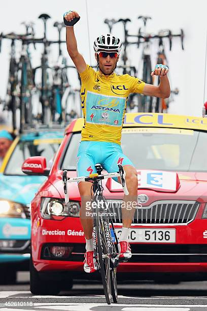 Vincenzo Nibali of Italy and Astana Pro Cycling celebrates winning the eighteenth stage of the 2014 Tour de France, a 146km stage between Pau and...
