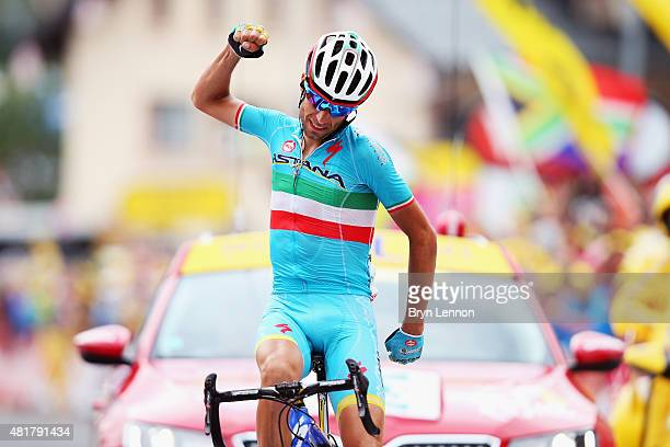 Vincenzo Nibali of Italy and Astana Pro Cycling celebrates winning stage nineteen of the 2015 Tour de France a 138km stage between...