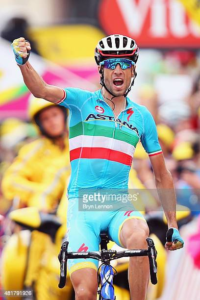 Vincenzo Nibali of Italy and Astana Pro Cycling celebrates winning stage nineteen of the 2015 Tour de France, a 138km stage between...